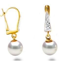 Boucles d'Oreilles Or 14k Diamants Perles d'Akoya qualité AAA