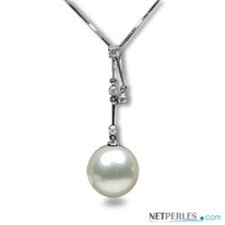 Pendentif Or 18k et diamants avec perle de culture d'Australie blanche