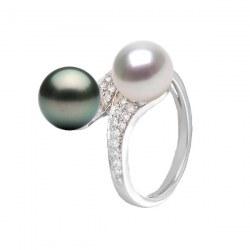 Bague Toi&Moi Or 18k et Diamants, perle blanche d'Akoya et perle noire de Tahiti AAA