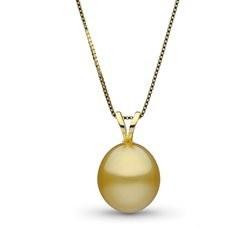 Pendentif perle des Philippines dorée drop lisse AA+