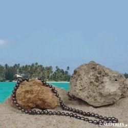 Collier de perles de culture d'Eau Douce noires 7 à 8 mm multireflets 40 cm