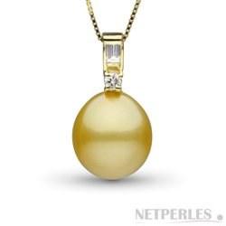 Pendentif diamants et perle Goutte dorée des Philippines AA+