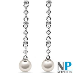 Boucles d'Oreilles Or 18k Perles d'Akoya AAA et diamants