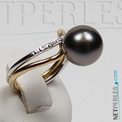 Bague Or 18k avec perle de Tahiti de 9-10 mm ou 10-11 mm AAA