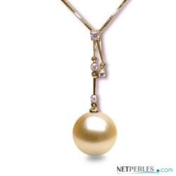 Pendentif Or 18k et diamants avec perle Dorée des Philippines