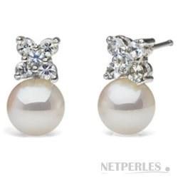 Boucles d'Oreilles en Or 18k, Diamants et Perles d'Akoya Blanches AAA