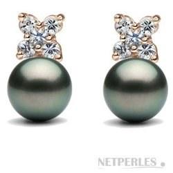 Boucles d'Oreilles Or 18k Perles de culture de Tahiti et diamants
