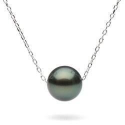 Chaine 40 ou 45 cm en or gris ou or jaune 14k traversante une perle de Tahiti AAA