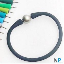 Bracelet en silicone avec perle d'eau douce, couleur aux choix