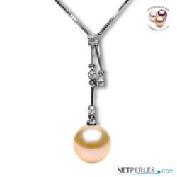 Pendentif Valentina Or 18k et Diamants, Perle d'eau douce Pêche DOUCEHADAMA
