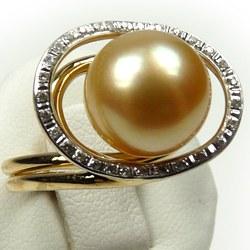 Bague Or 18 carats et perle de culture des Philippines dorée AAA