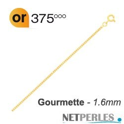 Chaine Maille Gourmette Or Jaune 9k carats 42-45 cm, Ø 1,6 mm