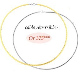 Cable Or 9 carats double face Or Gris et Or Jaune. 42 cm, 2 mm
