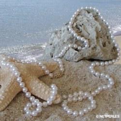 Collier 90 cm de perles Akoya 6,0 à 6,5 mm blanches
