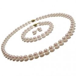 Parure de perles de culture d'Akoya 45/18 cm 6,5 à 7 mm