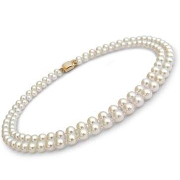 Collier de perles double rang 43/45 cm Akoya 7,0 à 7,5 mm