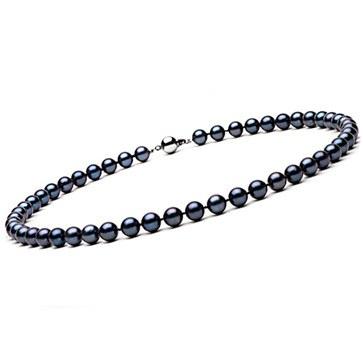 Collier 40 cm de Perles Noires d' Akoya 7,0 à 7,5 mm