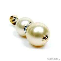 Pendentif perles de culture des Philippines dorées sur or et et diamants