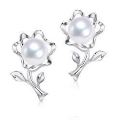 Boucles d'Oreilles Argent 925 Perles d' Akoya 6,5-7 mm AAA orient blanc argent