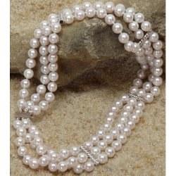 Collier 3 rangs de 36 cm perles d'Akoya 6-6,5 mm avec 4 barettes