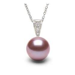Pendentif Argent 925, diamants, Perle d'Eau Douce Lavande DOUCEHADAMA