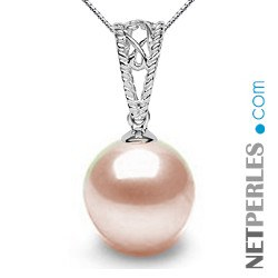 Pendentif Or 18k avec perle d'Akoya 9-9,5 mm blanche AAA