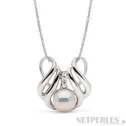 Pendentif Argent 925 et diamants, perle d'Eau Douce 9-10 mm blanche DOUCEHADAMA