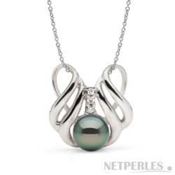 Pendentif Argent 925 et diamants, perle de Tahiti 9-10 mm