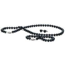 Parure 3 Bijoux de Perles Noires d'Akoya 6,0 à 6,5 mm AA+