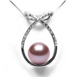 Pendentif Or 18 carats et Diamants et Perle d'Eau Douce Lavande DOUCEHADAMA