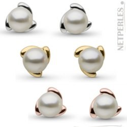 Paire de boucles d'Oreilles de perles de culture d'Akoya blanches 6,5 à 7,0 mm