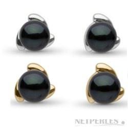Paire de boucles d'Oreilles de perles de culture d'Akoya Noires 6,5 à 7,0 mm