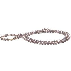 Long Collier de perles d'eau douce lavande 90 cm 6 à 7 mm
