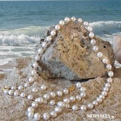 Parure 3 bijoux de Perles d'Eau Douce 7 à 8 mm, 45/18 cm, billes or 18k