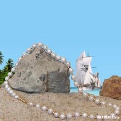 Collier 45 cm perles d'Eau Douce 7 à 8 mm AAA et billes en or gris 14k