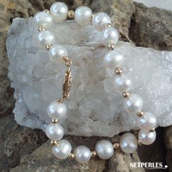 Bracelet 18 cm de perles d'eau douce 7 à 8 mm et billes en or 18k
