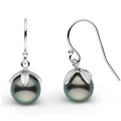 Boucles d'oreilles en Or 14k et perles de Tahiti 8-9 mm AA+ ou AAA