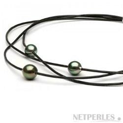 Collier 3 perles de Tahiti rondes sur 3 cordons de cuir entrelacés