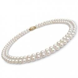 Collier double rang 43/45 cm de perles Akoya 7,5 à 8 mm
