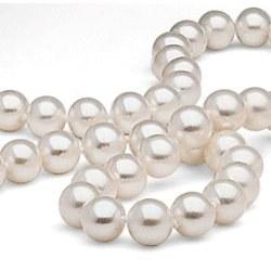 Très Long collier de perles d'Eau Douce de 7 à 8 mm blanches de 250 cm