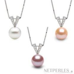 Pendentif Argent 925 diamants et perle d'Eau Douce DOUCEHADAMA