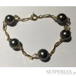 Bracelet maille cheval Or 18k et 5 perles noires d'Eau Douce 8-9 mm AAA