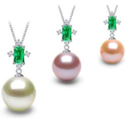 Pendentif en Or 18k tourmaline verte et perle d'Eau Douce DOUCEHADAMA