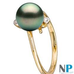 Bague Maëlys avec perle de Tahiti de 8-9 mm AAA et deux diamants