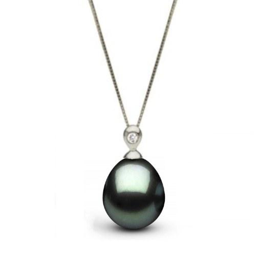 Pendentif Or Gris 14k Diamant et Perle Goutte de Tahiti 10-11 mm AAA