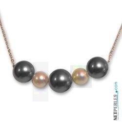 Pendentif Perles de Tahiti et Akoya Dorées. Qualité AAA
