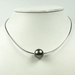 Câble en or 18 carats, Ø: 0,55 mm, avec perle de Tahiti