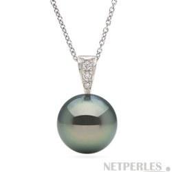 Pendentif en Or et diamants avec Perle de culture de Tahiti