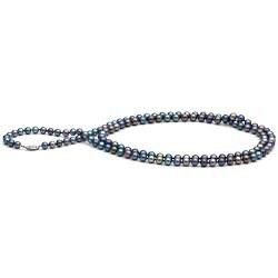 Long Collier de perles d'eau douce noires 90 cm 6 à 7 mm