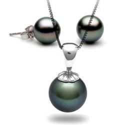 Parure 2 bijoux: pendentif et boucles d'oreilles de perles de culture de Tahiti